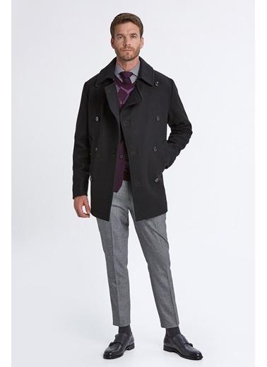 Hemington Italyan Yün Kruvaze Palto Siyah